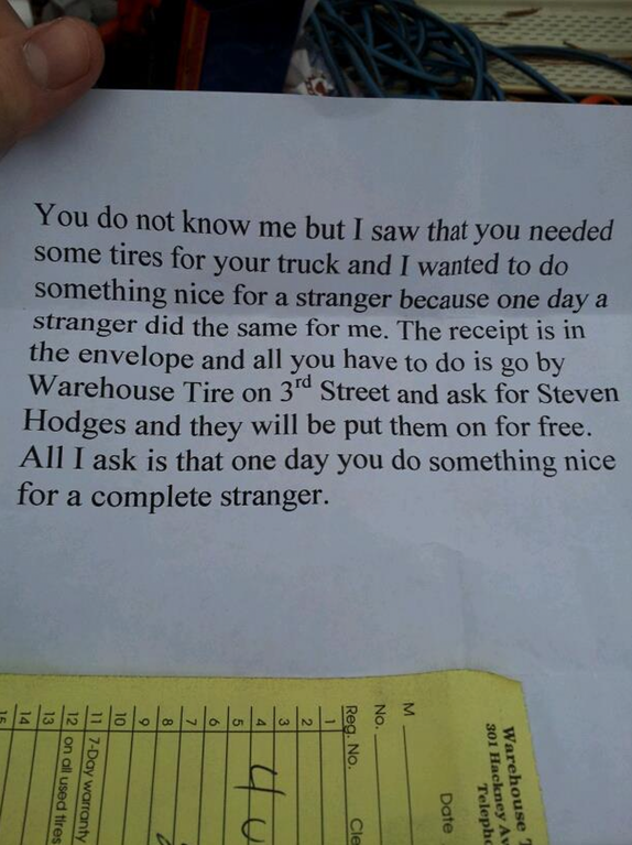 17. Good samaritan gives stranger free tires, leaves anonymous note stating where to pick them up