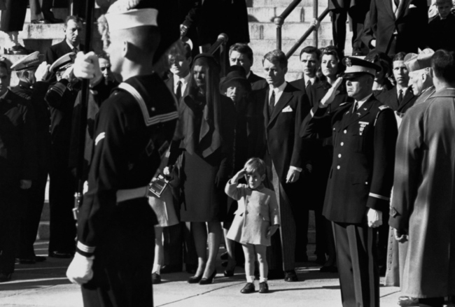 John F. Kennedy Jr. at his father's funeral