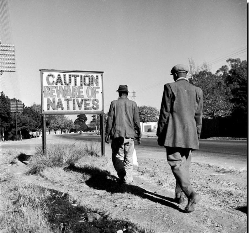 A notice warning white residents in Johannesburg during apartheid, 1956