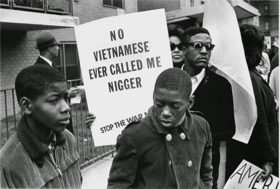 One protester in Peace march Harlem against racial discrimination, 1967