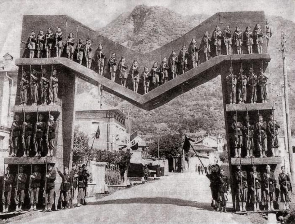 Reception of Mussolini with a giant M in a small village in Piemonte, 1928