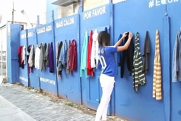 A wall to donate your clothes to get the homeless.
