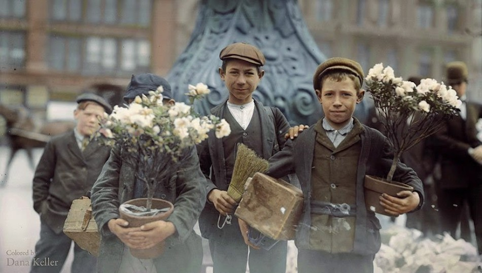 Boys who have bought Easter flowers in New York, April 1908