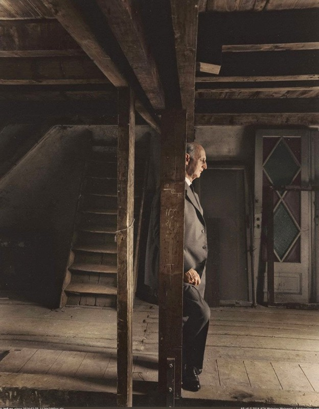 Otto Frank, father of Anne Frank and sole survivor of the family, visit the attic where I spent the war, May 3, 1960.
