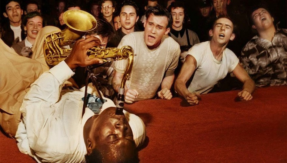 The Big Jay McNeely causes frenzy in public during a concert at the Olympic Auditorium in Los Angeles in 1953.