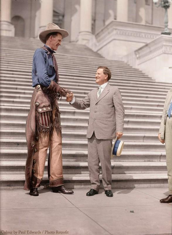 """The """"Tall Cowboy"""", Ralph E. Madsen Senator Morris Sheppard, 1919"""