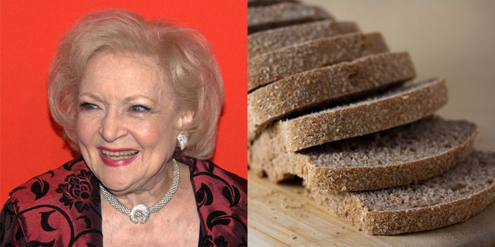 betty white and sliced bread