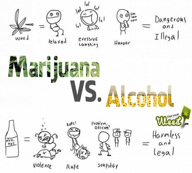 marijuana v alcohol With recreational and medical marijuana becoming legal in more and  so we  compared the health benefits of cannabis to those of alcohol to.