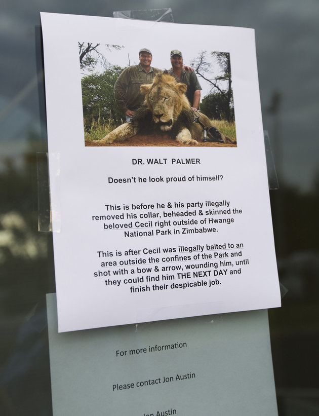 "A sign posted on the door at River Bluff Dental on Tuesday, July 28, 2015 in Bloomington, Minn. River Bluff Dental owner Dr. Walter Palmer has gotten criticism over the sport killing of a beloved lion in Zimbabwe named ""Cecil."" (Renee Jones Schneider/Minneapolis Star Tribune/TNS via Getty Images)"