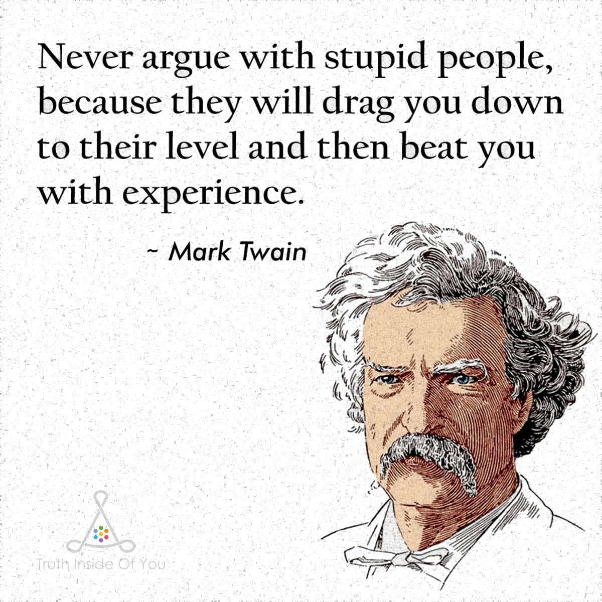 Never Argue With Stupid People. ~ Mark Twain