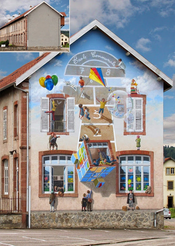 Artist from France paints colourful neighborhoods in cheerless walls.12