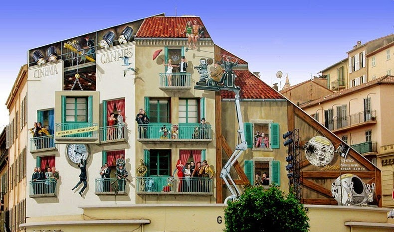 Artist from France paints colourful neighborhoods in cheerless walls.3