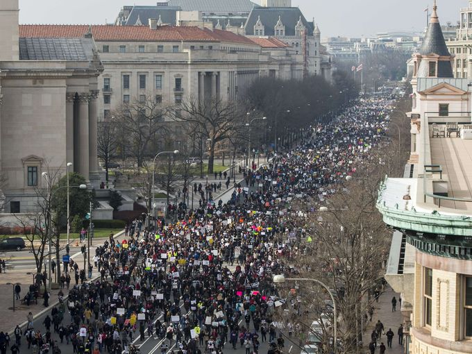 #MillionsMarchDC The view of Pennsylvania Ave. Wash DC | Photos: Saul Loeb |