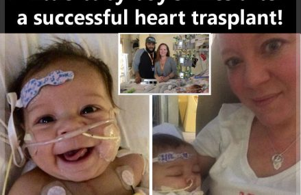 A little baby boy smiles after  a successful heart transplant!