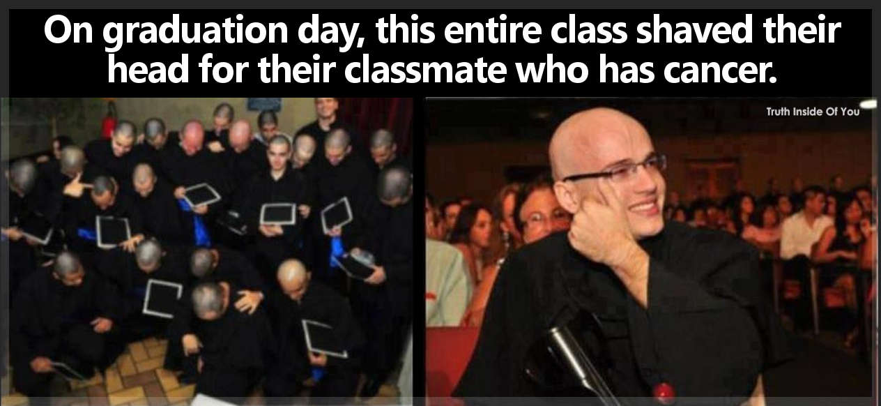 On graduation day, this entire class shaved their head for their classmate who has cancer.