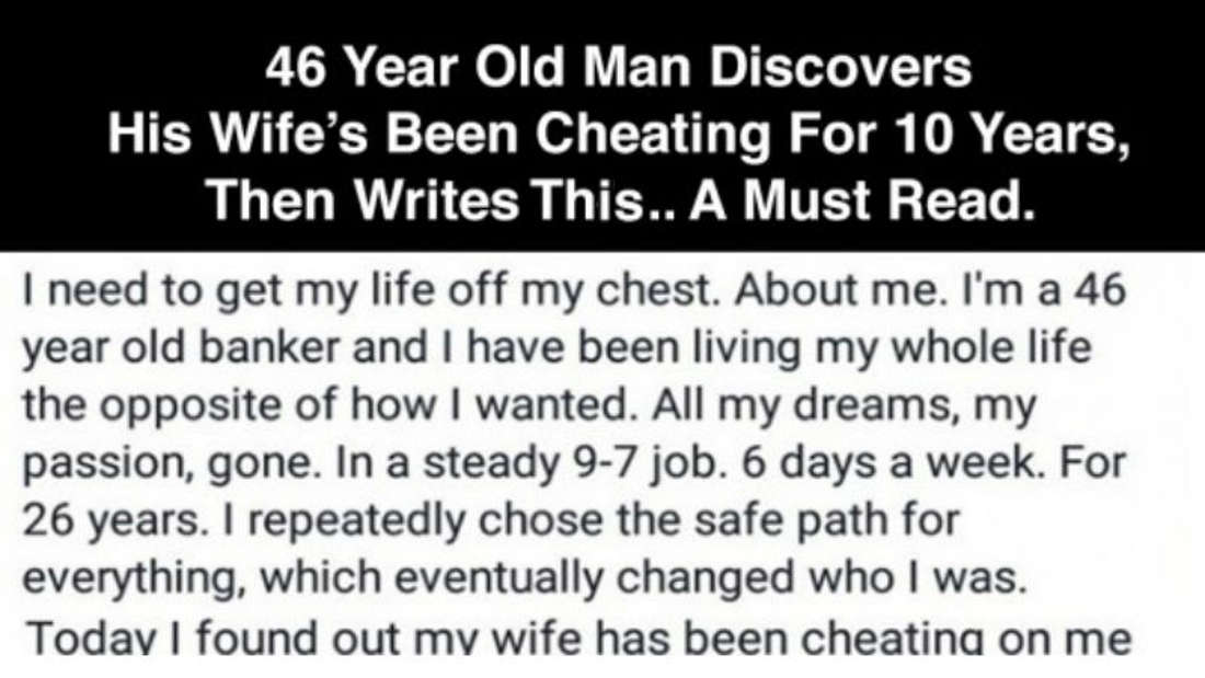 Facebook Post By A Man Who Just Found Out His Wife's Been Cheating