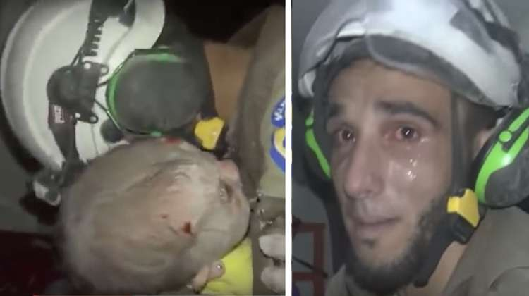 Syrian Rescuer Digs For 2 Hrs To Rescue Baby Girl, Bursts Into Tears The Moment He Finally Holds Her Safely.