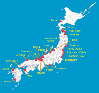 Map which shows the locations of Japan's, reactor sights. Notice how they are along the coast, in perhaps the most seismically active location on the entire planet.