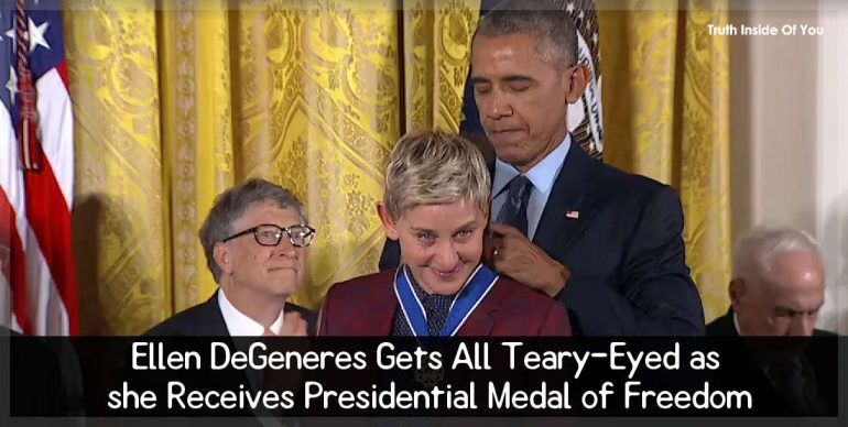 Ellen DeGeneres Gets All Teary-Eyed as she Receives Presidential Medal of Freedom
