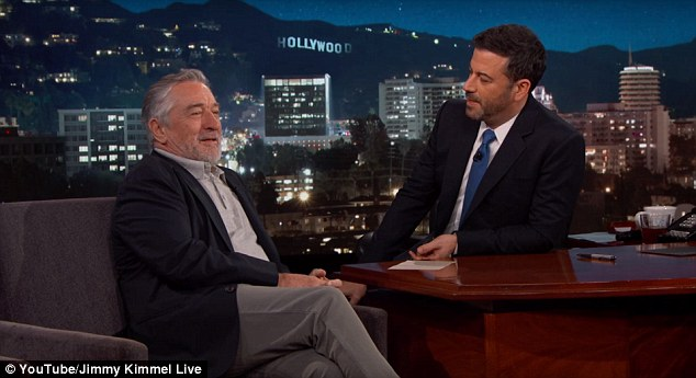 Talk show host Jimmy Kimmel asked De Niro on Wednesday: 'Are you still gonna punch Donald Trump in the face? Because you can now get arrested for that I think, yeah'