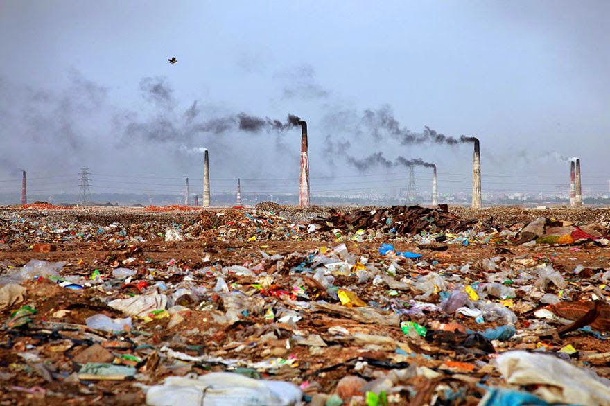 Bangladesh Landscape Filled With Trash