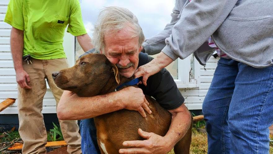 30 of the most powerful images of all time - Greg Cook hugs his dog Coco after finding her inside his destroyed home in Alabama following the Tornado