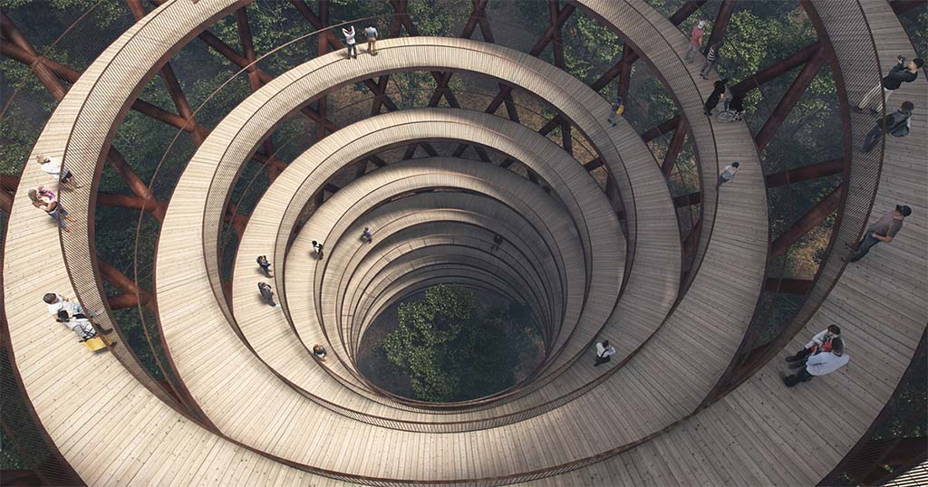 Circular Staircase Over The Danish Forest Offer a Great Experience.