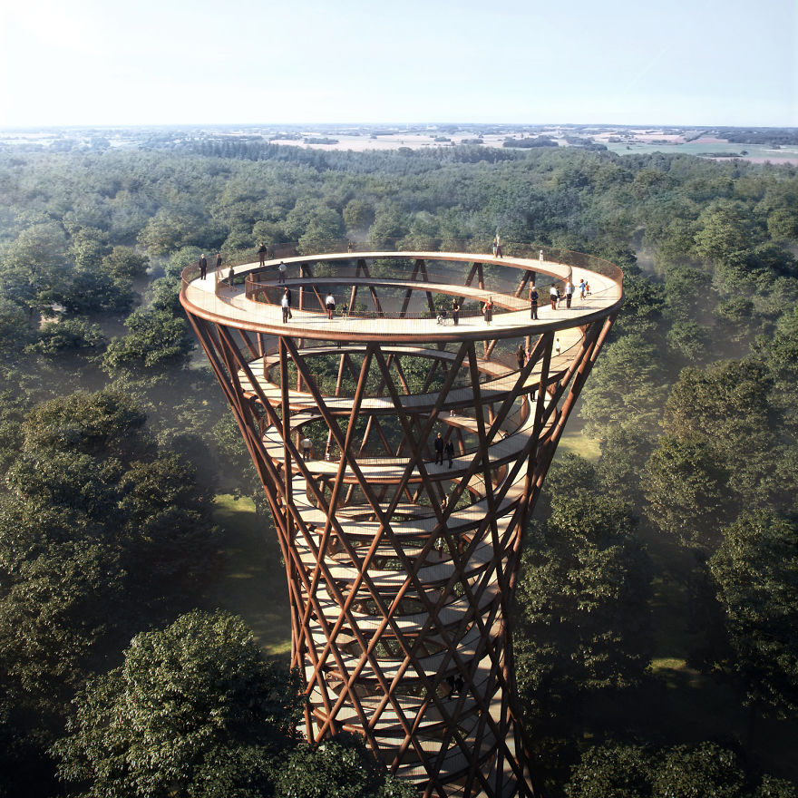 Circular Staircase Over The Danish Forest Offer a Great Experience.1