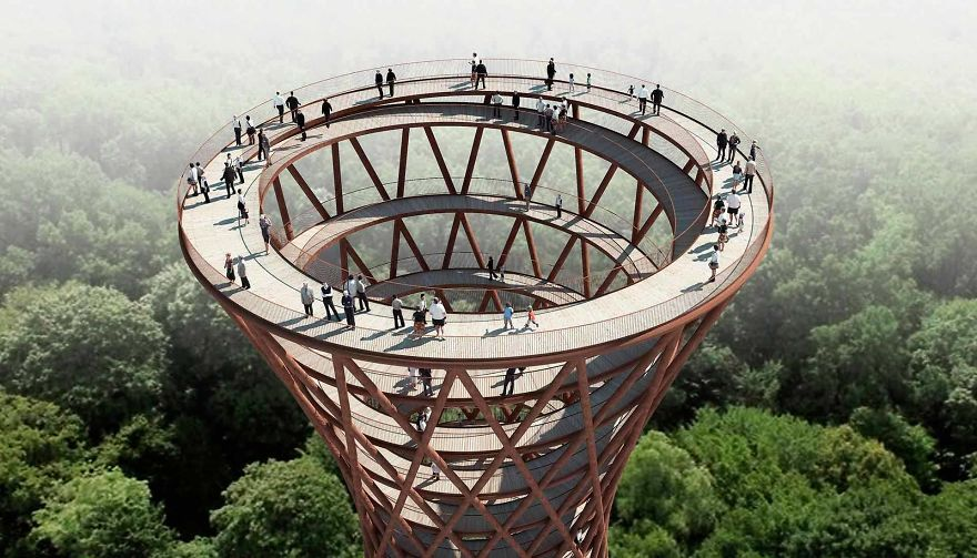 Circular Staircase Over The Danish Forest Offer a Great Experience.9