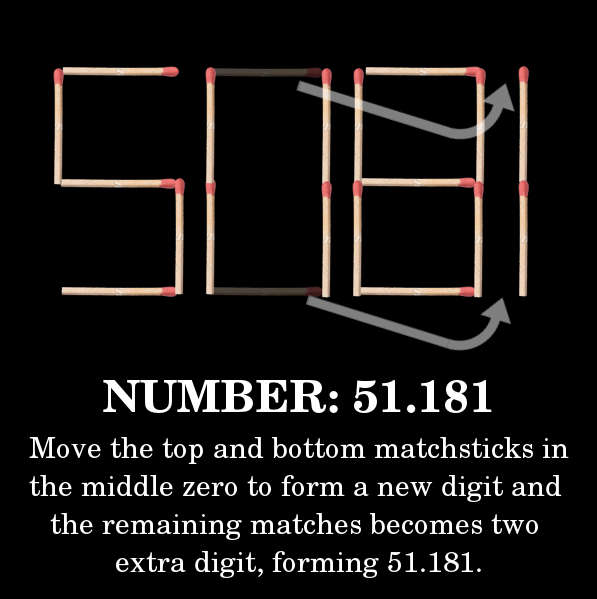 Move the top and bottom matchsticks in the middle zero to form a new digit and the remaining matches becomes two extra digit, forming 51.181.