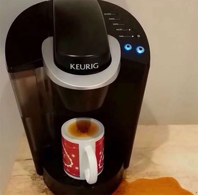 5. When you need coffee so bad that you can't even tell the correct side of the coffee mug.