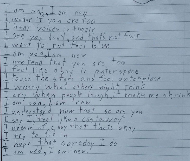 Boy with Autism Writes Poem for Homework, Perfectly Describes What It's like to Live with Autism 2