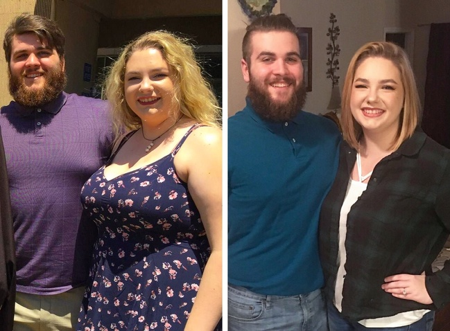 1. Couplegoals, as they lost 126lbs within themselves- he lost 70lb, she lost 56lb.
