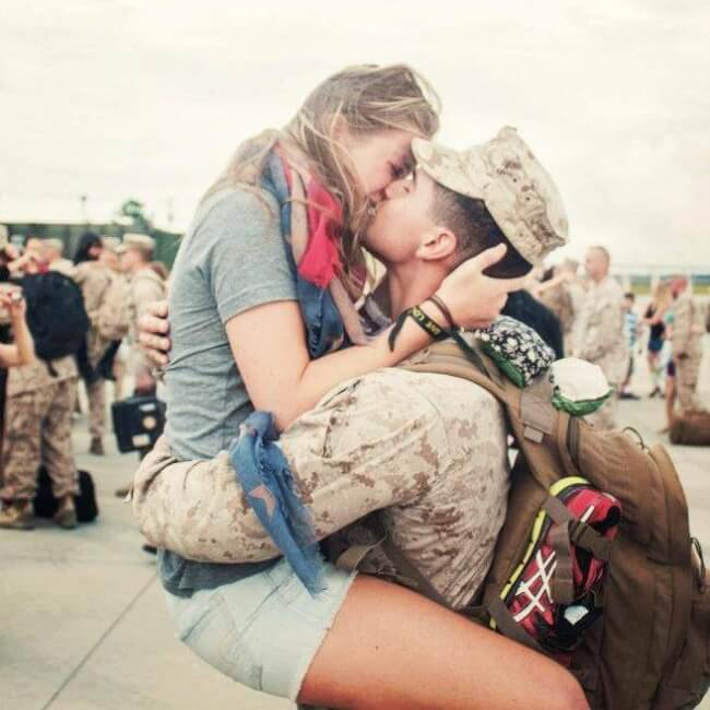 4. A soldier returning home to his girlfriend.