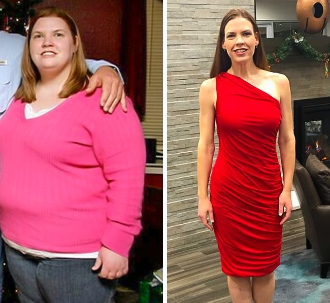 5. Gym and kitchen, when mixed proportionately, can lead to amazing results as this woman lost 170lb in 2 years, and looks amazing in this red gown.