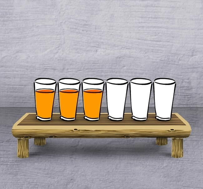 7. It's a picture of 6 glasses 3 filled and 3 empty. You are allowed to choose one glass to make an alternative order.