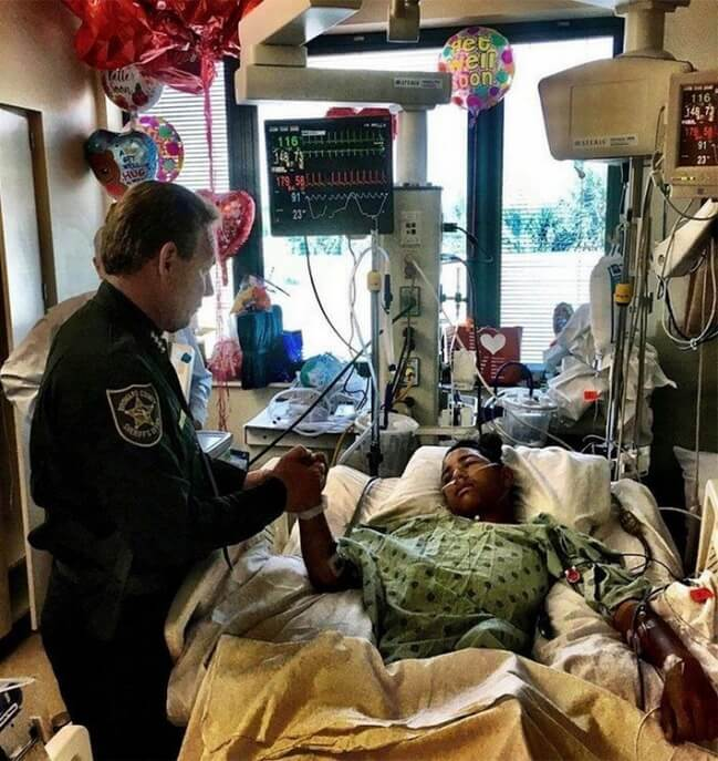 13. This is Anthony Borges, 15 years old. He used his own body to hold a classroom door shut and protect 20 other students inside when a gunman fired through the door, hitting him five times.