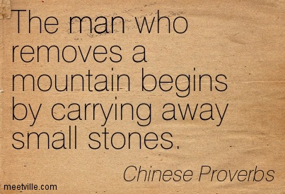 "#7. ""The man who removes a mountain begins by carrying away small stones"""
