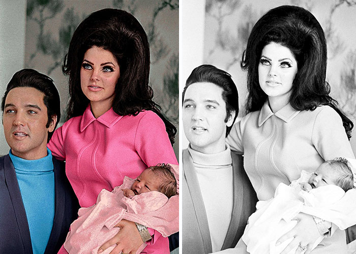Elvis Presley, Priscilla Presley And Lisa Marie