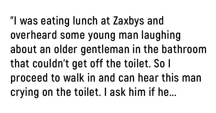 Man Posts Online After Finding An Elderly Veteran Crying In The Bathroom