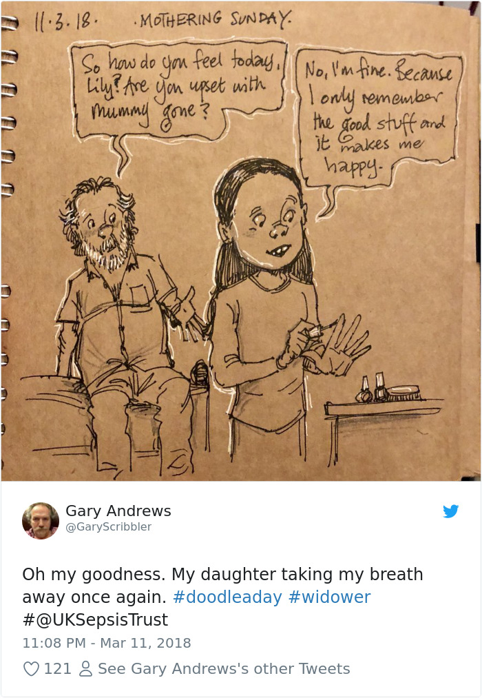 Disney Artist Illustrates Life With Two Children After His Wife Passes Away-15