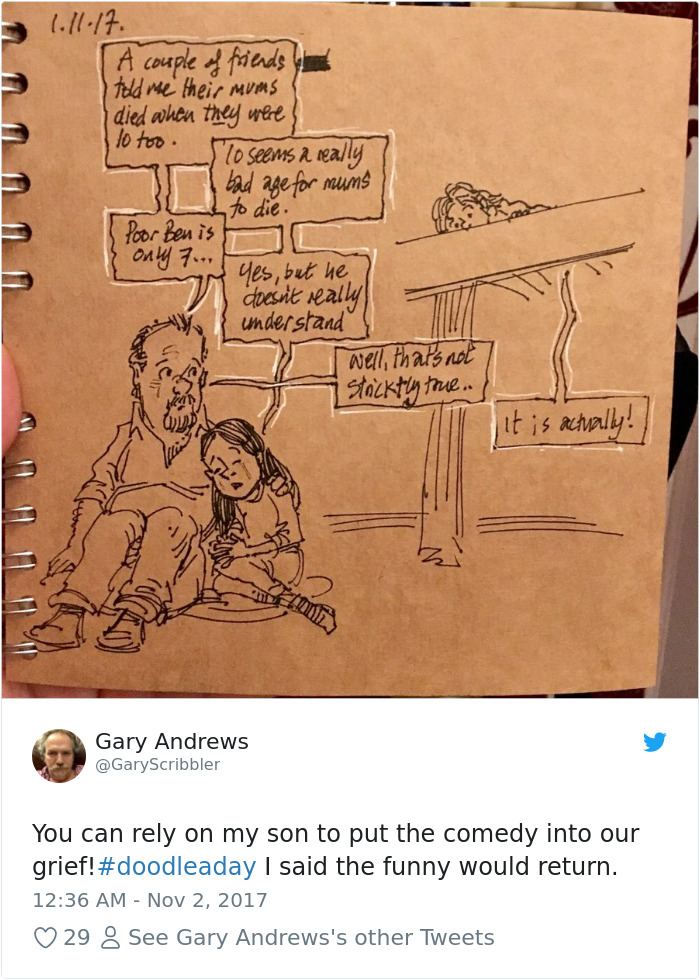 Disney Artist Illustrates Life With Two Children After His Wife Passes Away-40