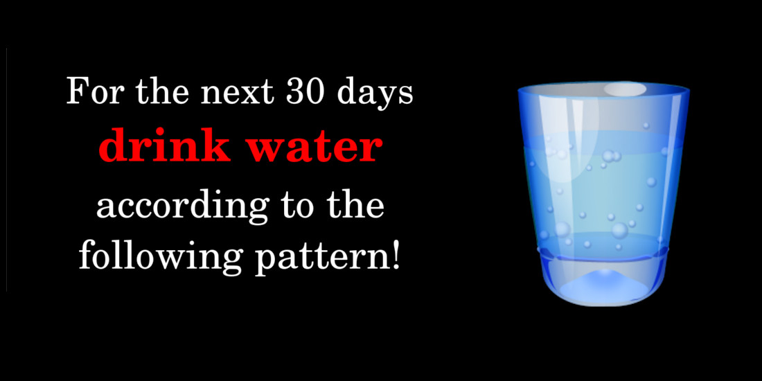 For The Next 30 Days Drink Water According To The Following Pattern