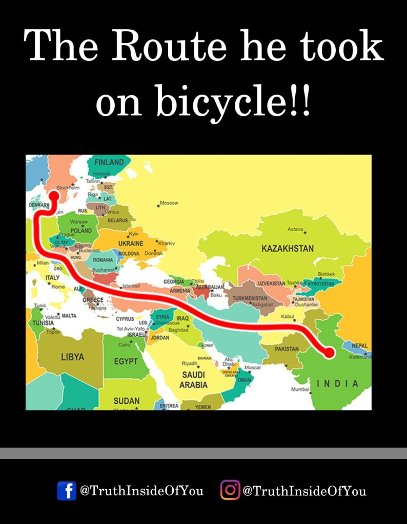 The Route he took on bicycle!