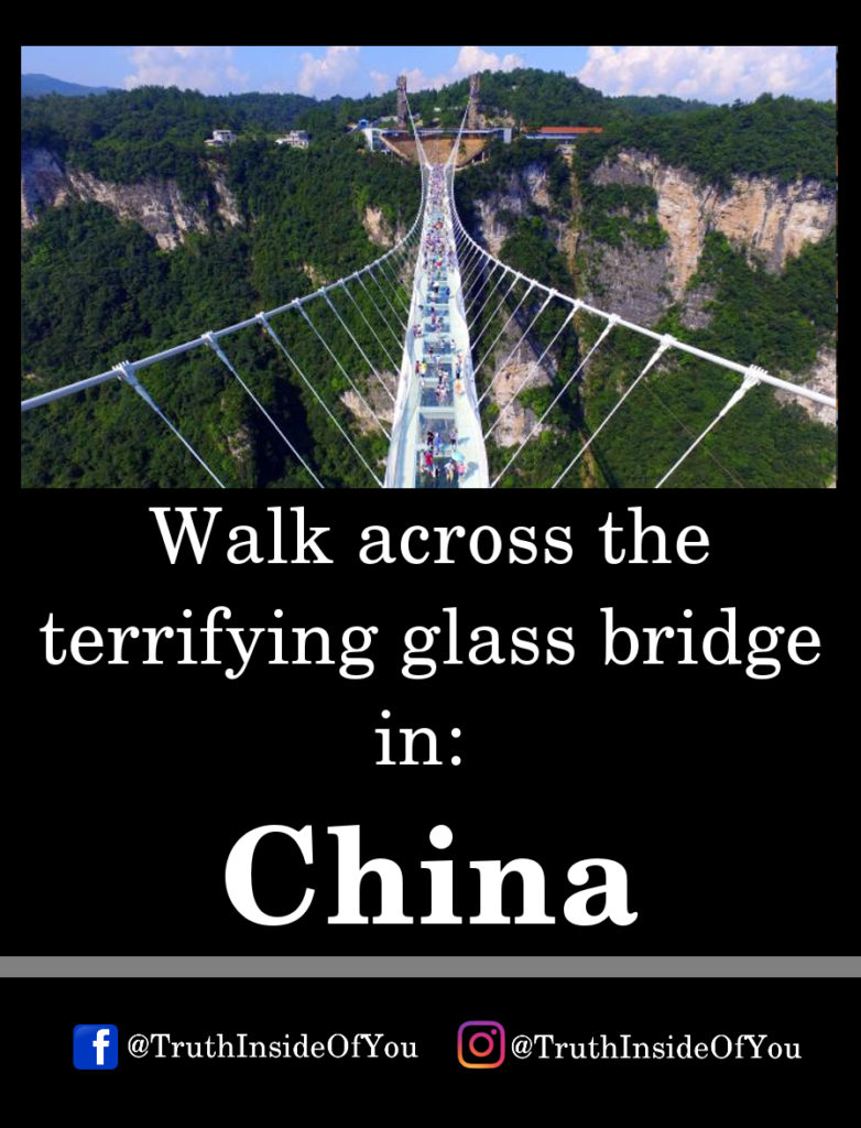Walk across the terrifying glass bridge in_ China