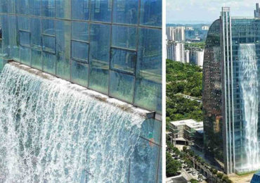 This 350 Feet Waterfall Flows From a Skyscraper In China
