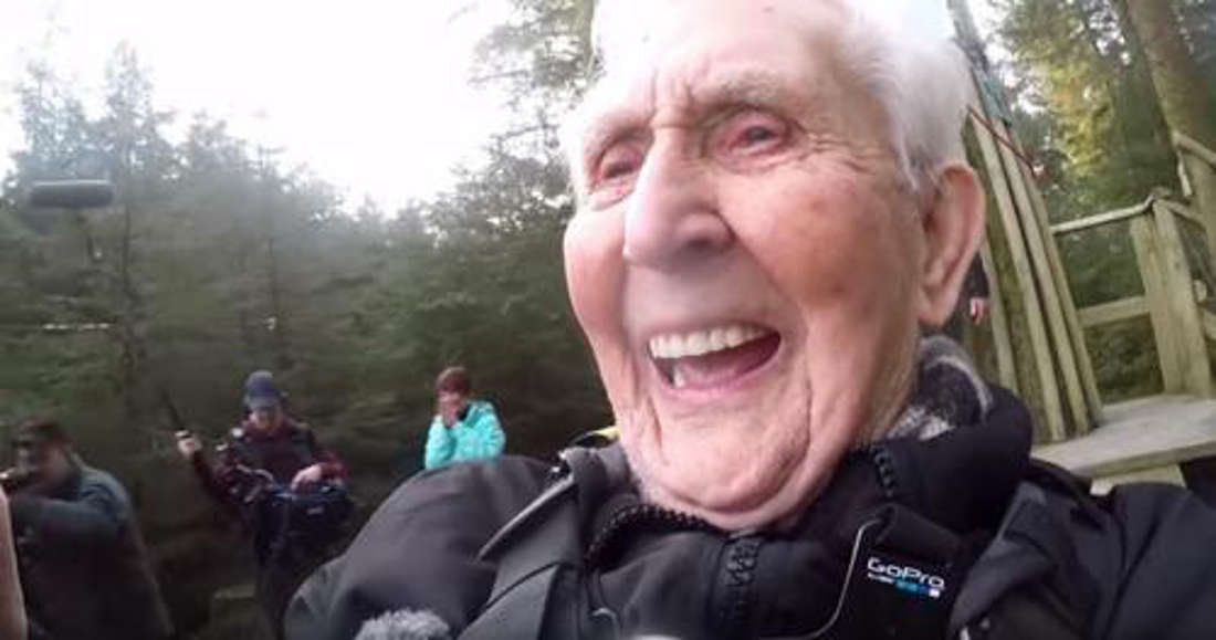 This Grandpa Breaks Zip Line World Record At The Age Of 106