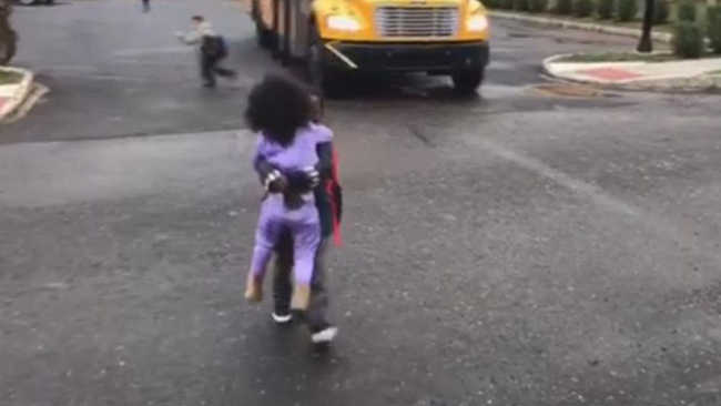 Little Sister Waits For Her Big Brother To Get Off The School Bus-2