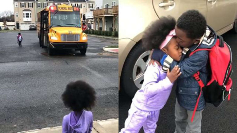 Little Sister Waits For Her Big Brother To Get Off The School Bus