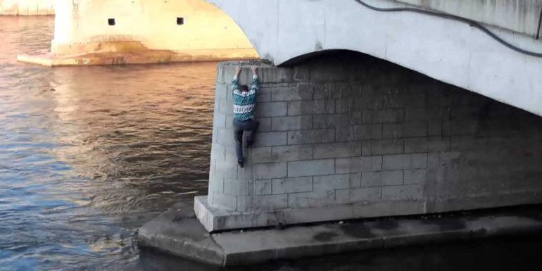 Man Climbs Down A Bridge On Nisava River To Rescue A Dog